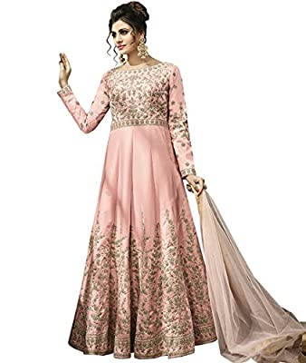 Indian Ethnic Satin Silk Baby Pink Abaya Suit Readymade
