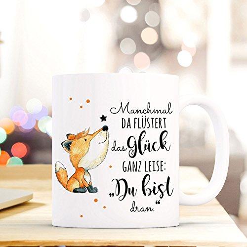 ilka parey wandtattoo-welt® Tasse mit Spruch Becher Kaffeetasse Kaffeebecher süßer Fuchs mit Punkten & Spruch Glück ts469