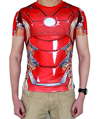 Madhero da uomo Marvel Comic Hero Iron Man Avengers Cosplay maglietta a maniche corte (M, Rosso)