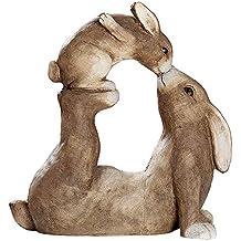 Gilde - Figura Decorativa de Conejo Tumbado con Conejo, de magnesio, Altura: 36