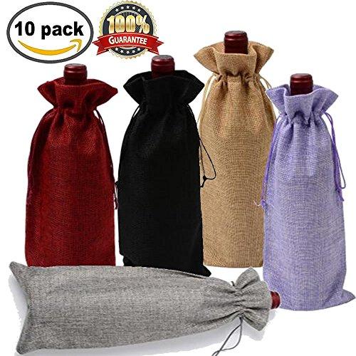 Jute Wein Taschen 10 Flasche Taschen mit Kordelzug Geschenk Verpackung 15,2 x 34 cm wiederverwendbar Flasche Wrap kleider Beutel verschiedenen Farben von Meiso