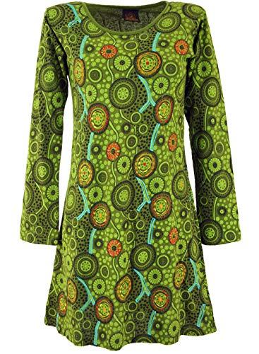Guru-Shop Hippie Minikleid Boho Chic, Tunika, Damen, Grün, Baumwolle, Size:L (40), Kurze Kleider Alternative Bekleidung