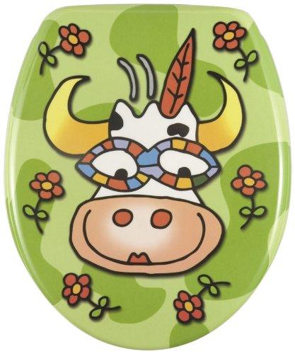 Wenko 17616100 WC-Sitz Crazy Cow – rostfreie Edelstahlbefestigung, Kunststoff – Duroplast, 37.5 x 45 cm, Mehrfarbig