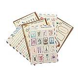 YPSelected Ensemble de 6 feuilles Craft Dairy Stamp Paper Stickers Deco Sticker Album-souvenir cadeau