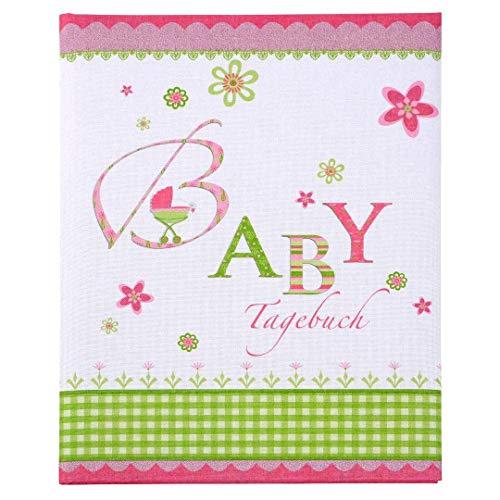 Goldbuch Babytagebuch, Lovely, 21 x 28 cm, 44 illustrierte Seiten mit Pergamin-Trennblättern, Leinen bedruckt, Rosa, 11085