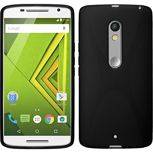 PhoneNatic Case für Motorola Moto X Play Hülle Silikon schwarz, 2 Schutzfolien