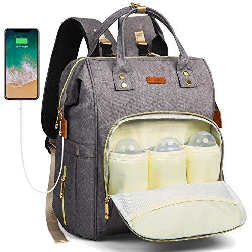 HOMIEE Mamabeutel, Mutifunktionale Wickeltasche Rucksack,Mutter und Baby Isolierte Tasche,Wasserdicht Stoffe,Passform für Kinderwage,Große Kapazität Modern Einzigartig Tragbar Handtasche Organizer