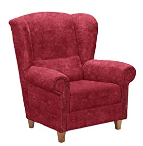 Max Winzer 2937-1100-2044123 Sessel Adele mit Ziernägeln, Ohrenbackensessel, Federkern, samtiger Veloursstoff, rot