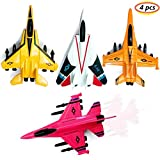 Corper Toys 4 PCS Diecast Toy Planes Pull Back Airplane Set Fighter Jet Toys for Kids Party Favor