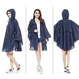 ZEVONDA Damen Mode Regenjacken Regen Poncho mit Kapuze Wasserdicht Regenmantel Regenkleidung für Motorrad Fahrrad, Blau Wellenpunkt, Eine Größe