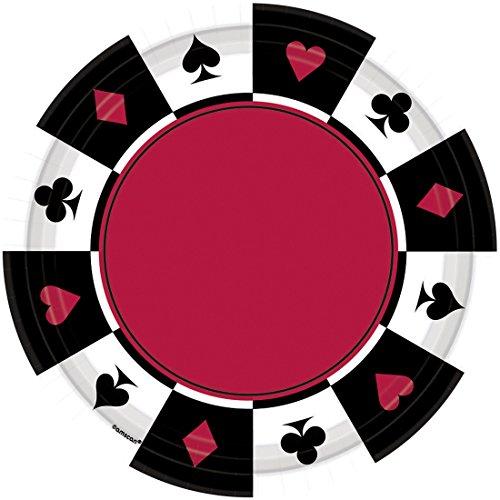 NET TOYS 8 Casino Teller Place Your Bets 17,7 cm Partygeschirr Las Vegas Speiseteller Partyteller Essteller Spieleabend Pappteller Pizzateller Tischdeko Grillteller Partyteller Einwegteller