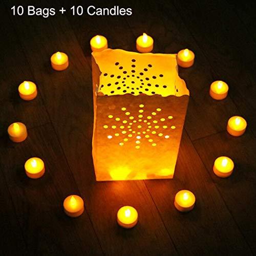 JUSTDOLIFE 10PCS LED Teelicht Dekorative Flammenlose Teelicht LED Kerze mit Kerzenbeutel