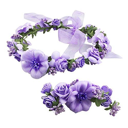 (Frauen Mädchen Blumenkranz Blumenstirnband Blumenkrone Haarkranz Garland Halo mit Floral-Handgelenk-Band für Braut Fotografie Hochzeit Festival Violett)