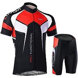 Lixada Maillots de Ciclismo Hombres Jersey de Manga Corta y Pantalones Cortos Conjunto de Ropa para Ciclismo al Aire Libre