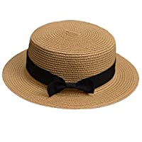 Lawliet Lady Boater Sun Caps Ribbon Round Flat Top Straw Beach Hat Summer Hats for Women