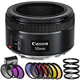 Canon EF 50mm F/1.8 STM Lens With 6 Piece Graduated Color Filter Set, HD Macro Close Up Lenses, 3 Piece Multi Coated HD Filter Kit (UV, CPL, FLD) (International Version No Warranty)