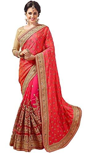Nivah Fashion Women\'s Dhupion Silk Embroidery With Dori Work Saree (Pink_K579)