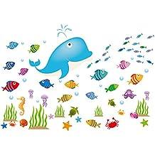 Winhappyhome delfín peces mar mundo pared arte pegatinas para habitación cuarto de baño Guardería habitación de los niños Antecedentes decoración extraíble adhesivos