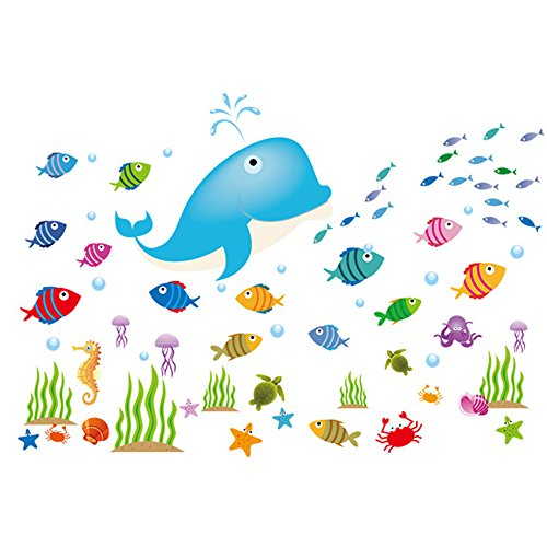 Winhappyhome Delfino Pesci Mare Mondo Adesivo Da Parete Per Bagno, Camera bambini Camera rimovibile Decor decalcomanie