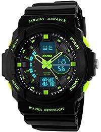 Kinderuhren Jungen,Kinder Digital Uhren Sport Wasserfest Digital Und Analog Armbanduhr Grün