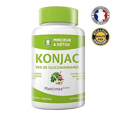 PUR KONJAC – 640 mg à 95% de glucomannanes / gélule – puissant capteur de graisses et de sucres - FABRICATION FRANCAISE – 90 gélules végétales