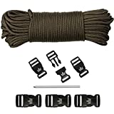 The Friendly Swede Kit Paracord: 33 Metros de Paracord de 250 kg (550 lb) y 5 Hebillas de Plástico - GARANTÍA DE POR VIDA (Marrón)