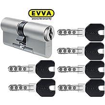 EVVA MCS doble cilindro con 6 design-schlüssel Negro, LARGO (A/B