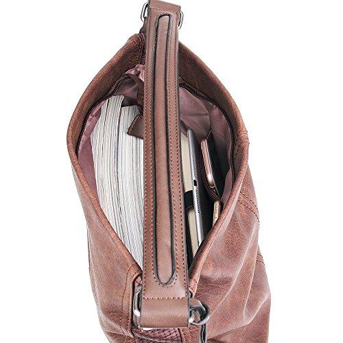 UTAKE PU Leder Handtasche Henkeltaschen Schultertasche Tasche Damen Handtasche Größe 38*17*34cm Kaffee