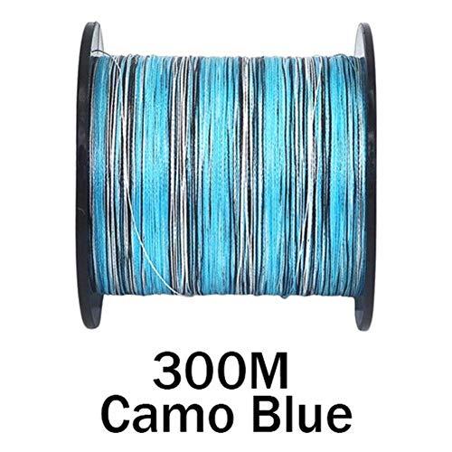 Línea De Pesca 10-300lb Línea De Pesca Trenzada De Carpa PE 100M 300M 500M 1000M 1500M 2000M 8 Hilos Camo Extreme Strong Cord Big Game (Color : 300M Camo Blue, Line Number : 0.37mm 50LB)