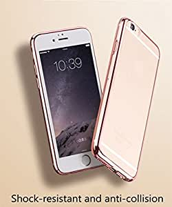 FONOVO Electroplated Silicone TPU Soft Clear Transparent Back Case Cover for iPhone 6/6s - Rose Gold
