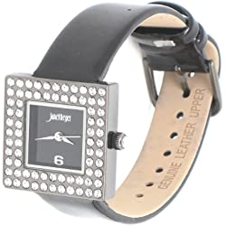 Janet Reger Crystal Bezel Square Shaped Analog Black Face Black Leather Strap Watch - Comes Boxed