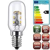 Die schicke + helle ENERGIESPARLAMPE -LED Kühlschranklicht (NUR 1,5Watt, E14, 2800k warmweiß)