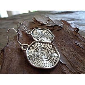 ✿ GEWELLTE MANDALA SCHEIBE 925 SILBER OHRRING ✿ echt Silber Haken Ohrringe
