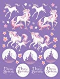 Happy Birthday Sticker * FANTASY EINHORN * // 4 Bögen mit je 34 Sticker // Aufkleber Bilder Kinder Kindergeburtstag Geburtstag Mitgebsel Geschenk Basteln Herzlichen Glückwunsch Unicorn Schloss Traumwelt