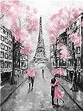 YEESAM ART Neuheiten Malen nach Zahlen Erwachsene Kinder, Romantisch Eiffelturm Straßenansicht 40x50 cm Leinen Segeltuch, DIY ölgemälde Weihnachten Geschenke