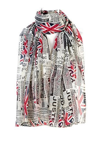World of Shawls UK London Souvenir Scarves Wraps Shawls Womens Unisex Street Party Queens 90th Birthday Celebrations (Newspaper - White)
