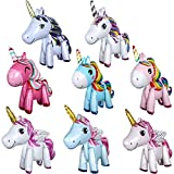 8 Unidades 3D Unicorn Balloons Walking Animal Globos Globos de Papel de Aluminio para la Fiesta de Cumpleaños Wedding Party Decoraciones Suministros Baby Shower Decoraciones, 8 Estilos