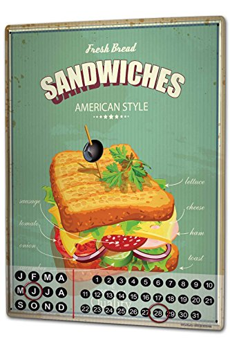 Wandkalender 2019 Jahreskalender Dauerkalender 2020 Kalender 2021 Terminplaner Fotokalender Retro Sandwich Metall Magnet