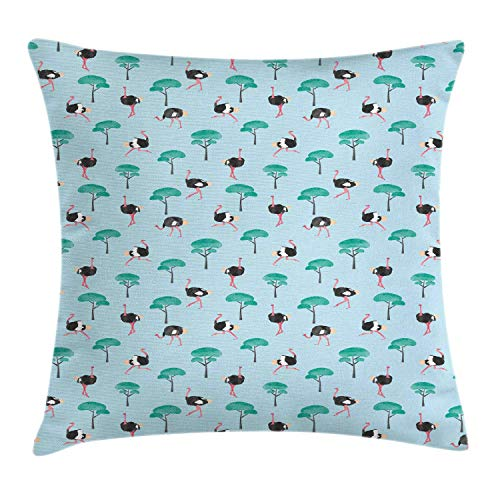 MLNHY Ostrich Throw Pillow Cushion Cover, Repetitive Pattern of Watercolor Style Trees And Long Legged Animal, Decorative Square Accent Pillow Case, Pale Blue And Multicolor,24 X 24 Inches