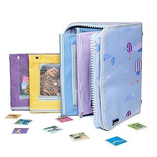 Puzzle Aufbewahrung Ordnungssystem für Kinder - Sammelmappe Tasche für Spiele Karten Stickern Kinderpuzzle Aktivitäten & Zubehör - Ringbuch Mappe mit 5 Fächertasche