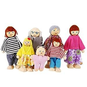 smibie poup es en bois 7 famille de membres jouet d 39 enfant jeu ducatif b b s. Black Bedroom Furniture Sets. Home Design Ideas