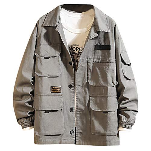 Herren Sweatshirt, ODRD Herren japanischen Multi Pocket Revers Mantel Mode Plain Revers Coat Slim Pullover Sweater Jacke Kapuze Hoodie Sweatshirt Kapuzenpullover Trenchcoat Outwear (Japanische Mäntel Für Frauen)