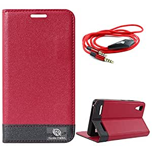 DMG Lenovo A6000+ Flip Cover, DMG PRaiders Premium Magnetic Wallet Stand Cover Case for Lenovo A6000+ (Pink) + 3.5mm Flat AUX Cable with Mic