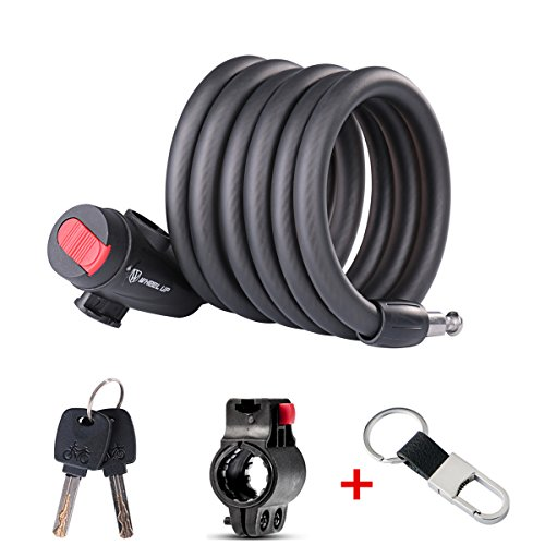 Bicycle lock: High quality chain lock with key, the best cable lock for outdoor bicycle, cycling, scooter, bars and other items that must be secured., 1.8M