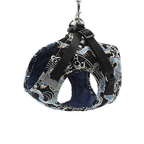 BLEVET Kleine Hunde Geschirr Katze Geschirr Vest Harness Einstellbare Brustgeschirre für Grosse Mittelgroße Kleine Hunde MZ089 (XL, Black)