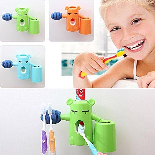 ZuoLan 3 in 1 Zahnpastaspender mit Zahnbürstenhalter und Zahnputzbecher für Wandmontage geklebt (Grün)