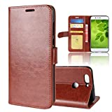 Ziaon(TM) Super Series 100% Polyurethen Leather Flip Stand Wallet Case For Huawei Nova 2 Plus - Mangnetic Lock- Brown