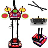 K R MART Electronic Junior Musical Drum Beat Set, XXL Electronic Junior Jazz Drum Beat Set with Mp3 Plug-in + Microphone + Pedal Mechanism + Adjustable Heights (Multicolor)