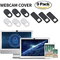 AJOXEL Webcam Abdeckung Laptop inkl.6X Gratis Webcam Sticker, 9er Set 0.027in Ultradünne Webcam Cover Privacy-Schutz Frontkamera Abdeckung Fest für PC, MacBook Pro, Handy Kamera, iPhone