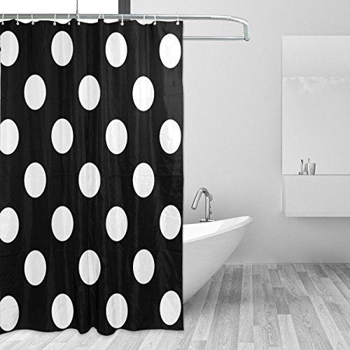 CPYang Cortina de Ducha de poliéster con Lunares Negros Impermeable, Resistente al Moho y al Moho, para Decoración de Baño, con 12 Ganchos para Cortinas de 182,88 x 182,88 cm